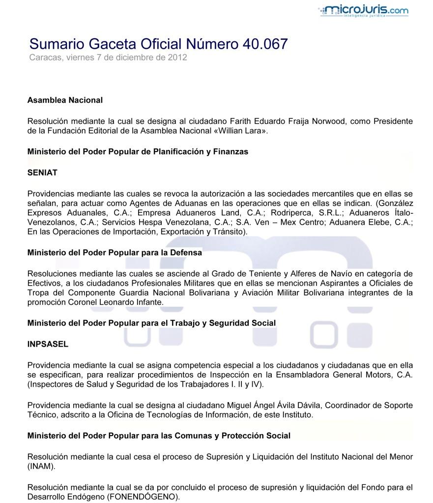 Sumario GO 40067