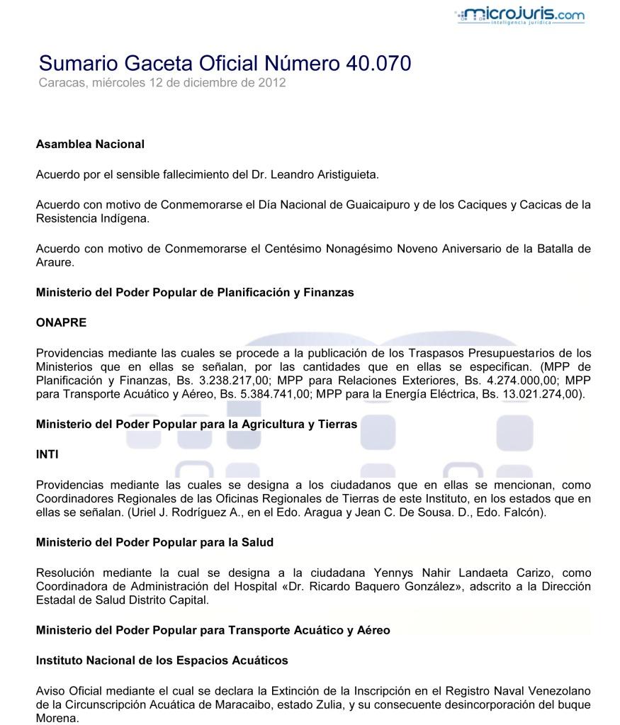 Sumario GO 40070