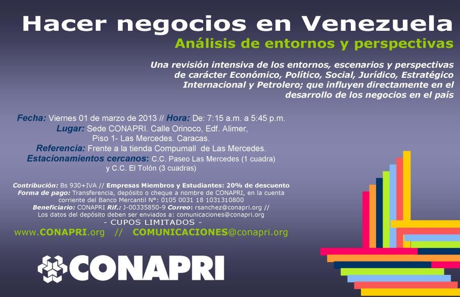 Invitación electrónica cómo hacer negocios en Venezuela 2013 marzo