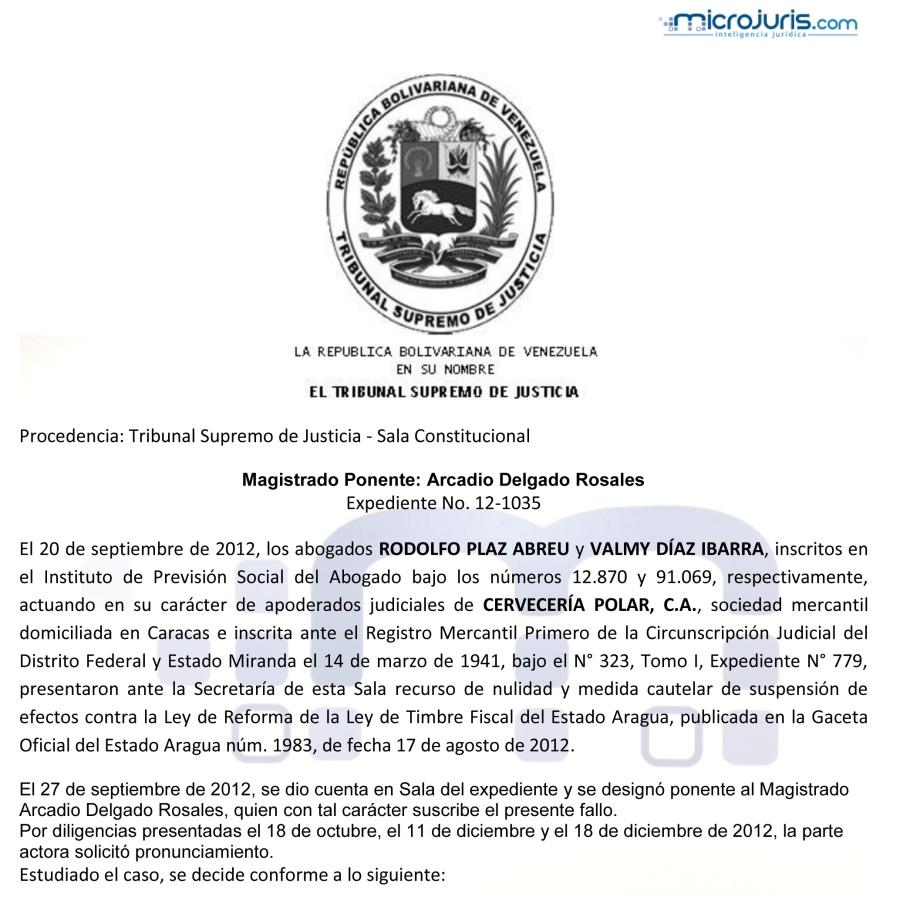 Medida cautelar contra la Ley de Reforma de la Ley de Timbre Fiscal del estado Aragua-1