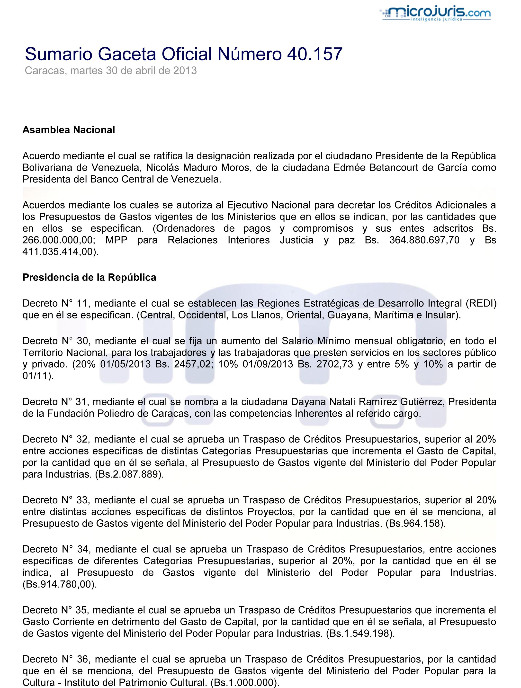 Image search: En Gaceta Oficial Aumento del Salario Mínimo