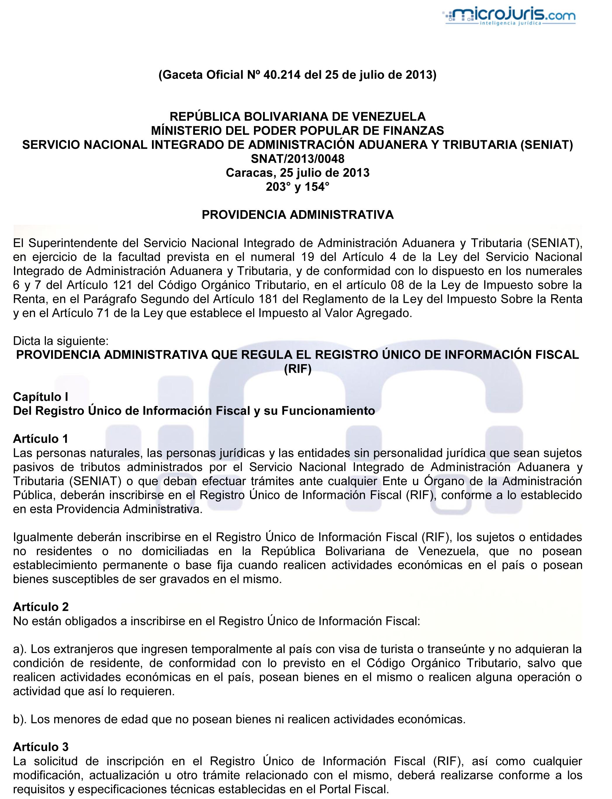 Providencia administrativa que regula el registro nico de for Que es una oficina publica