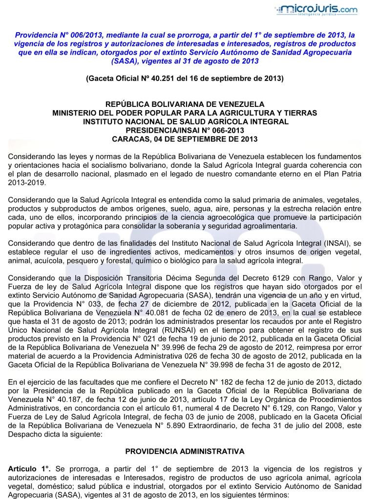 Prorroga de la vigencia de los registros y autorizaciones de interesados otorgados por el extinto Servicio Autónomo de Sanidad Agropecuaria-1