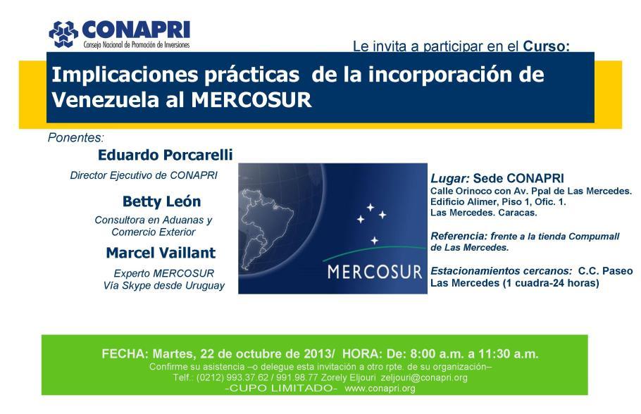 2013-09-30. Invitación Curso Mercosur