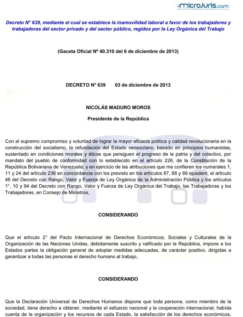 Decreto 639 inamovilidad laboral