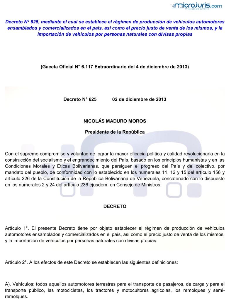 Decreto N° 625