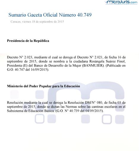 Sumario GO 40749