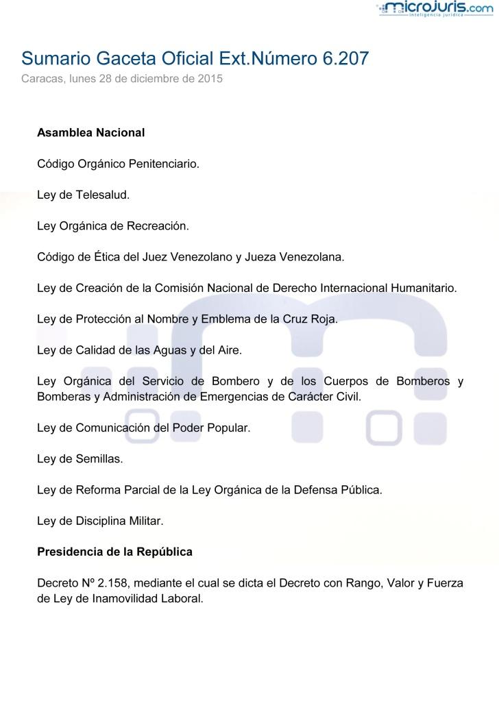 SUMARIO Gaceta Oficial Ext. N° 6