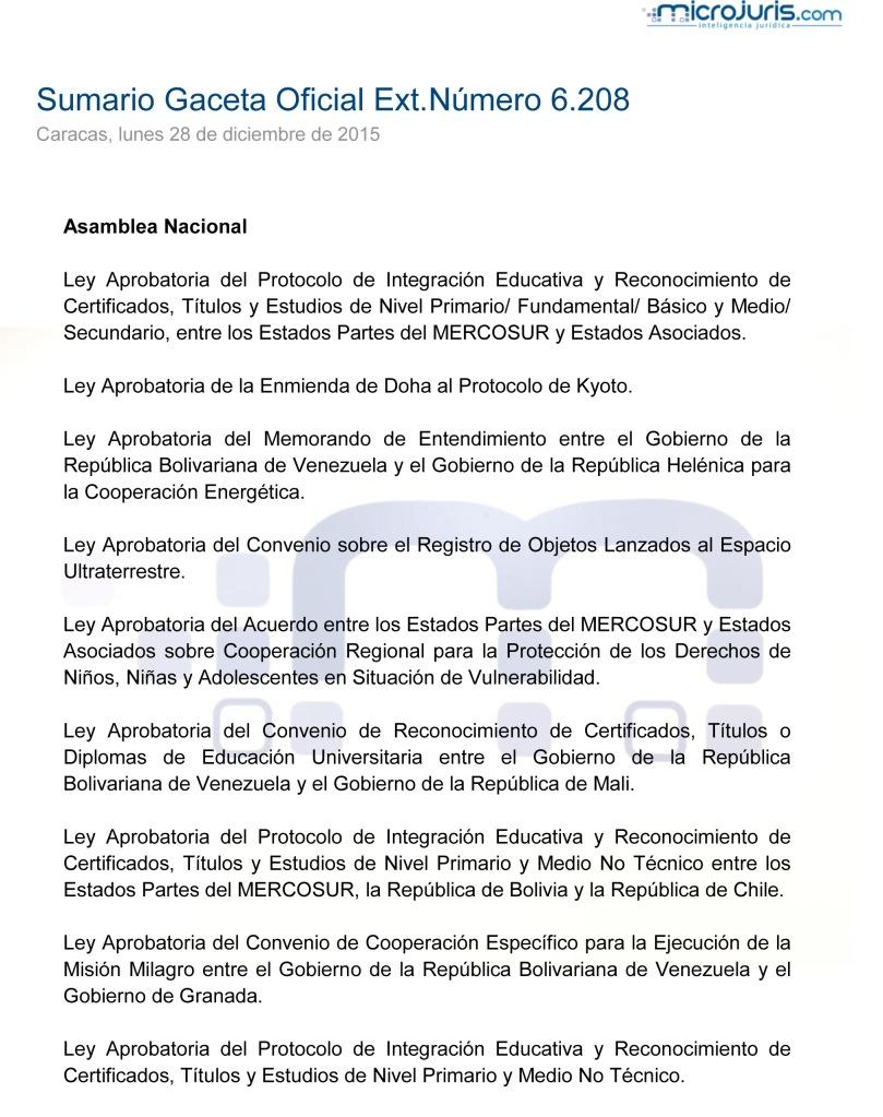 SUMARIO Gaceta Oficial Ext. N° 8