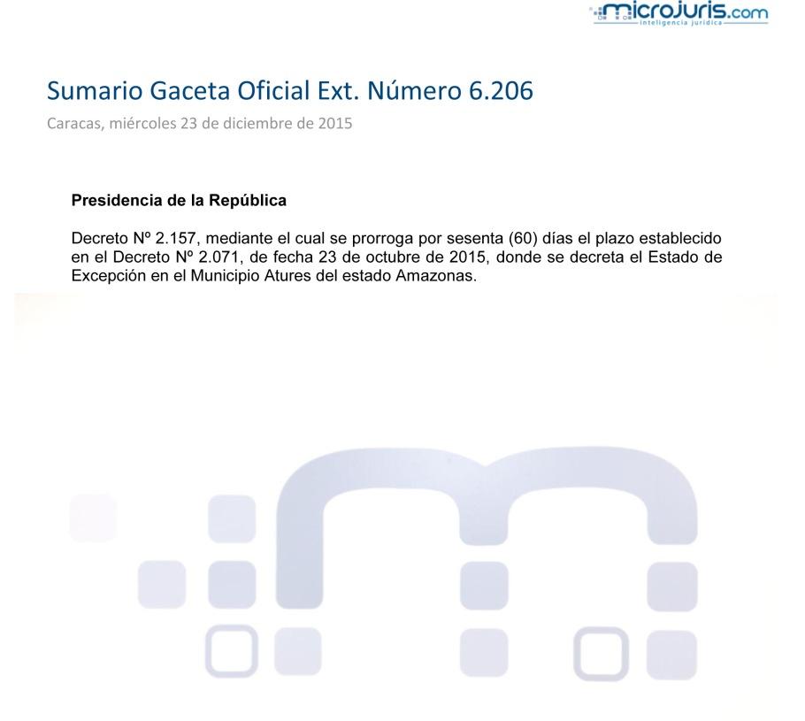 SUMARIO Gaceta Oficial Ext. N°66