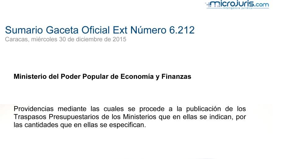 SUMARIO Gaceta Oficial Ext. N° 6212