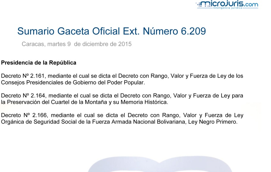 SUMARIO Gaceta Oficial Ext. N° 9