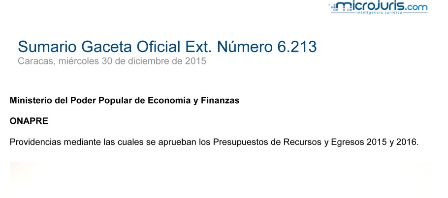SUMARIO Gaceta Oficial Ext. N° 6.213 copy