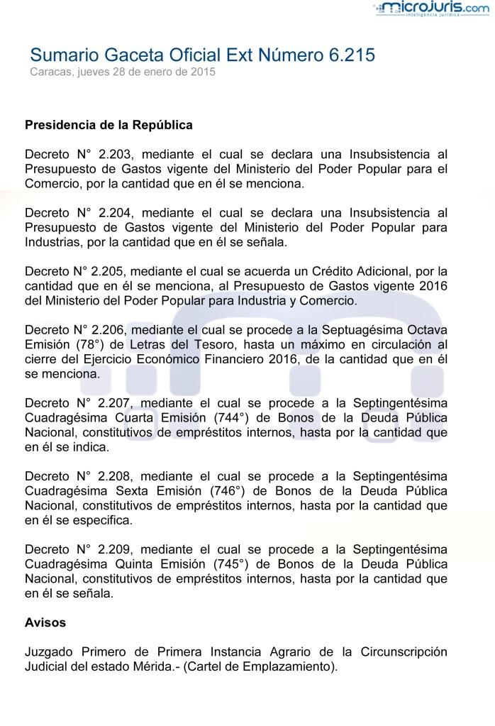 SUMARIO Gaceta Oficial Ext. N° 6215