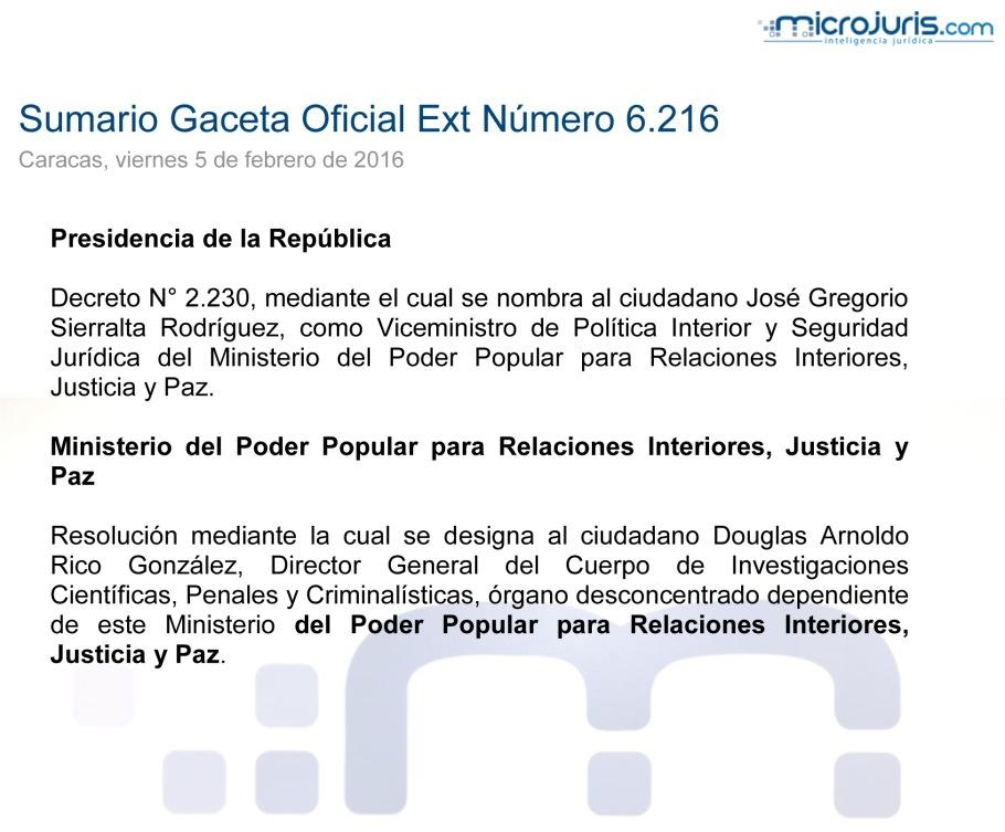 SUMARIO Gaceta Oficial Ext. N° 6216