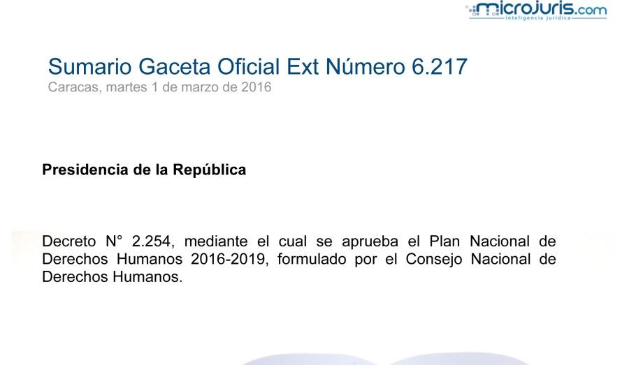 SUMARIO Gaceta Oficial Ext. N° 6.217 copy