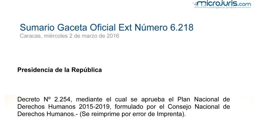 SUMARIO Gaceta Oficial Ext. N° 6.218 copy