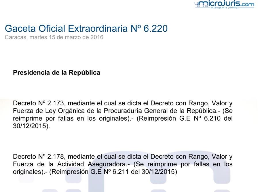 SUMARIO Gaceta Oficial Ext. N° 6.220 copy