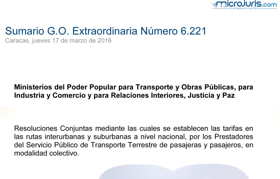 SUMARIO Gaceta Oficial Ext. N° 6.221 copy