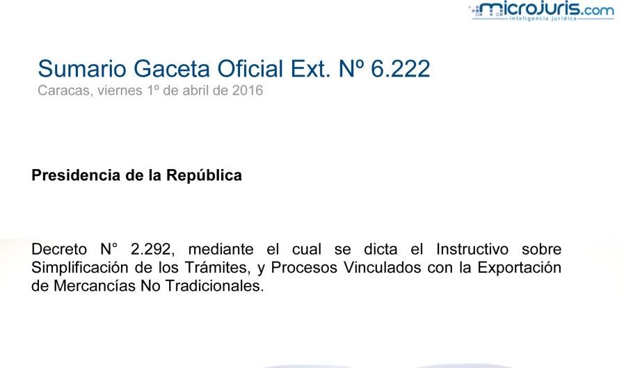 SUMARIO Gaceta Oficial Ext. N° 6.222 copy