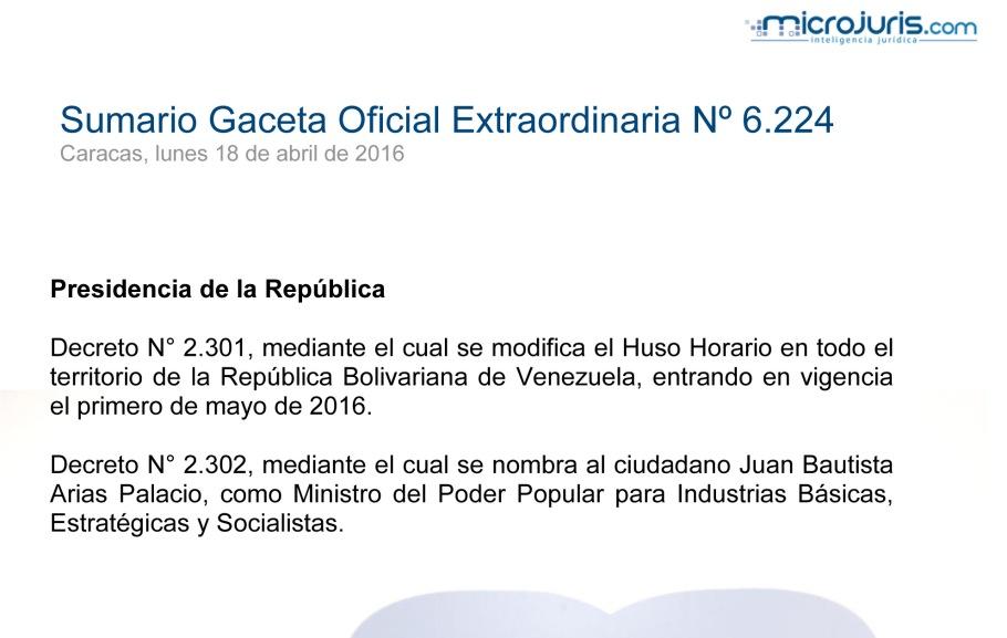 SUMARIO Gaceta Oficial Ext. N° 6.224 copy
