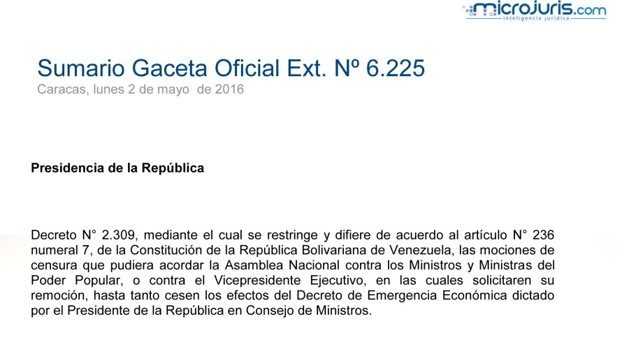 SUMARIO Gaceta Oficial Ext. N° 6.225 copy