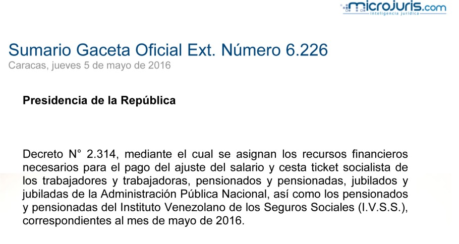 SUMARIO Gaceta Oficial Ext. N° 6.226 copy