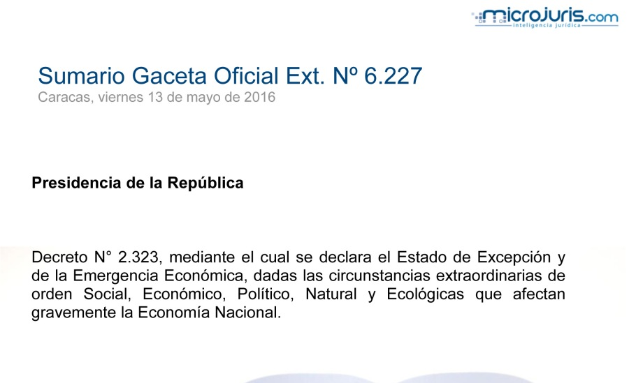 SUMARIO Gaceta Oficial Ext. N° 6.227 copy