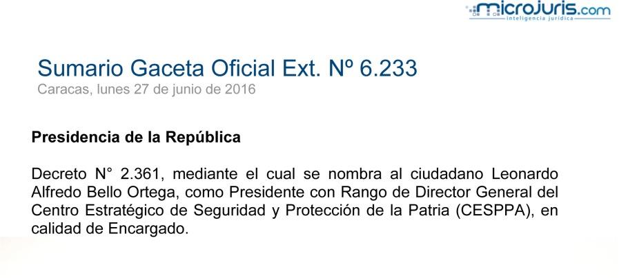 SUMARIO Gaceta Oficial Ext. N° 6223