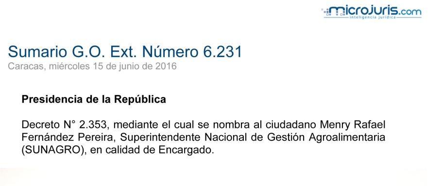 SUMARIO Gaceta Oficial Ext. N° 6231