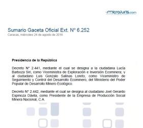 Sumario G. O. Ext. Nª 6.252