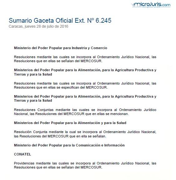 Sumario G. O. Ext. N° 6.245
