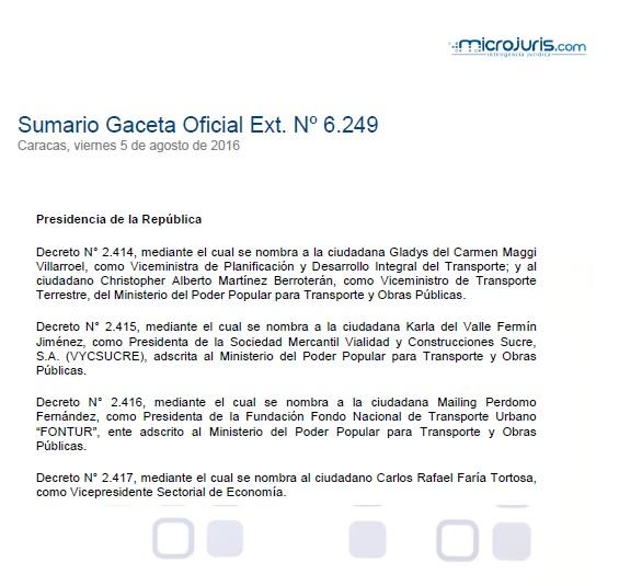 Sumario G. O. Ext. N° 6.249