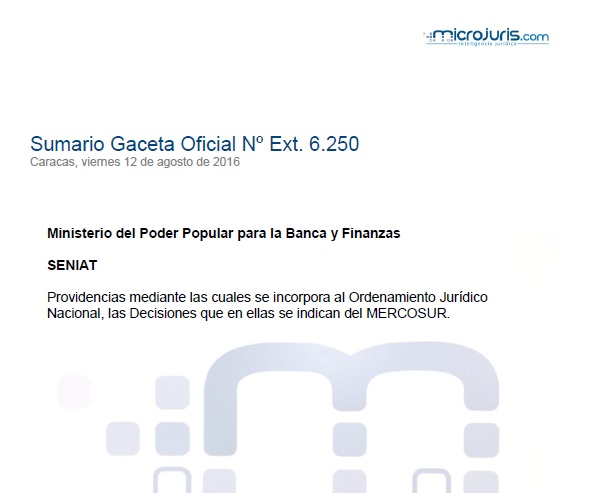 Sumario G. O. Ext. N° 6.250