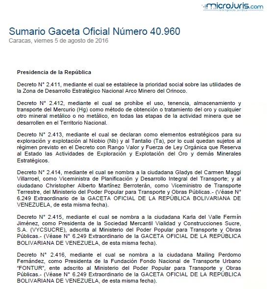Sumario G. O. N° 40.960
