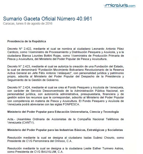 Sumario G. O. N° 40.961